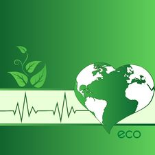 Eco Green Heart-shaped Earth Stock Photo