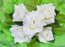 Free White Artificial Roses. Royalty Free Stock Images - 23972829