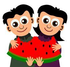 Free Kids With Watermelon Stock Photos - 23973983
