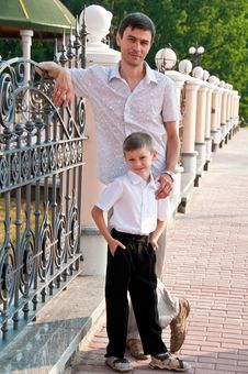 Dad And Son Are In Full Growth. Stock Image