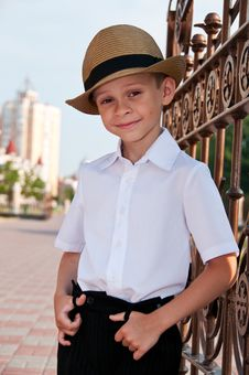 Portrait Of Little Boy In A Retro Hat. Royalty Free Stock Photo