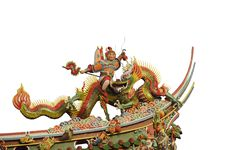 Free Chinese Dragon God Sculpture On White Background Royalty Free Stock Photos - 23974568