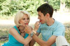 Free A Man With A Woman At A Picnic. Royalty Free Stock Photography - 23974617