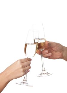 Free Glasses Of Champagne  In Hands Royalty Free Stock Photography - 23979697