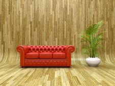 Free Red Leather Sofa Royalty Free Stock Photography - 23983737