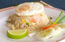 Free Shrimp Fried Rice And Egg Fired Royalty Free Stock Image - 23985056