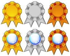 Free Golden, Silver And Bronze Rosettes Royalty Free Stock Images - 23985699