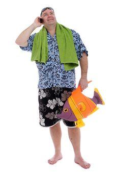 Free Man Holding A Beach Toy Royalty Free Stock Photos - 23986828