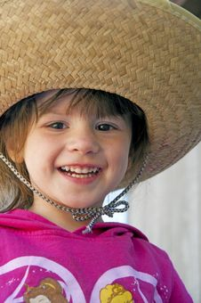 Free Small Child, Big Hat, And Big Smile. Stock Image - 23986941