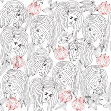 Free Girls In Garden. Seamless Pattern In Vector Royalty Free Stock Image - 23987496