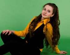Free Portrait Of Sitting Beautiful  Brunette Woman Royalty Free Stock Photo - 23988515
