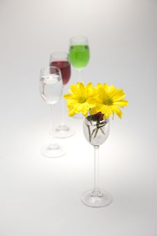 Free A Glass, Cherry And Yellow Flowers On A White Back Stock Photos - 23988893