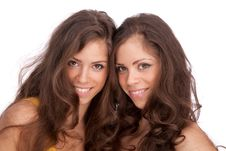 Two Girls Sisters - GEMINI On A White Background Stock Image