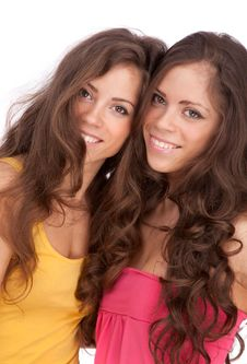 Two Girls Sisters - GEMINI On A White Background Royalty Free Stock Photo