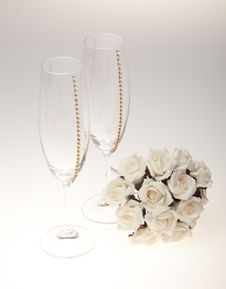 Free Bouquets And Glasses On A White Background Stock Photos - 23990313