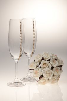 Free Bouquets And Glasses On A White Background Stock Photo - 23990340