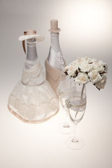Free Bottle, Decorated As A Bride And Groom. Stock Photos - 23990423