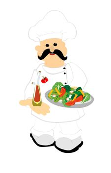 Free Chef Serving Up A Fresh Salad Royalty Free Stock Photo - 23990455