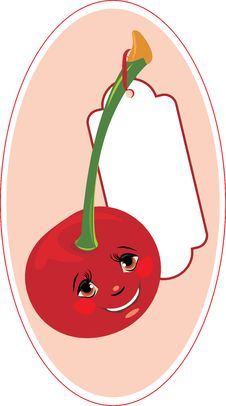 Smiling Cartoon Cherry With Tag Royalty Free Stock Images