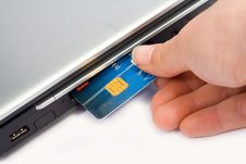 Free Credit Card Inserted In Laptop Stock Image - 2400931