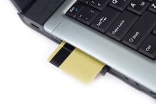Free Credit Card Inserted In Laptop Stock Photo - 2400960