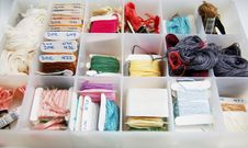 Free Sewing Box With Material. Stock Image - 2403491