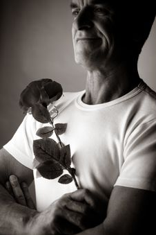 Free Man With A Rose Stock Photography - 2403912