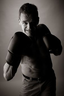 Free Man Of 50 Years Old  Boxing Royalty Free Stock Photos - 2403928