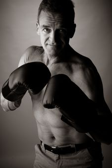 Free Man Of 50 Years Old  Boxing Stock Image - 2403931