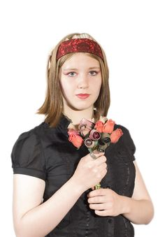 Free Young Woman Holding Flowers Stock Image - 2404001