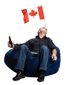 Free Men With A Canadian Flag Royalty Free Stock Images - 2404009