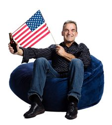 Free Man With An American Flag Royalty Free Stock Photography - 2404027