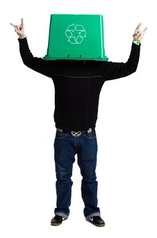 Free Man With A Recycling Box Royalty Free Stock Image - 2404126
