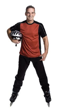 Man Of 50s In Roller Skate Royalty Free Stock Photo