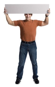 Free Muscular Man With White Panel Royalty Free Stock Photography - 2404177