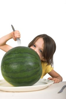 Free Little Girl With Watermelon Royalty Free Stock Photo - 2405135
