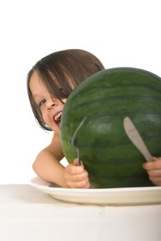 Free Little Girl With Watermelon Stock Image - 2405141