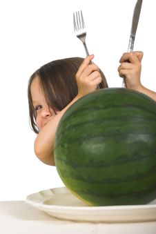 Free Little Girl With Watermelon Stock Photography - 2405142