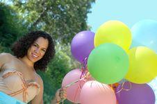 Free Birthday Girl In Vintage Dress Royalty Free Stock Photos - 2405788