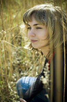 Blond Smiling In The Reed Stock Photos