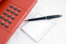 Free Red Telephone With Noteblock Royalty Free Stock Photos - 2406558