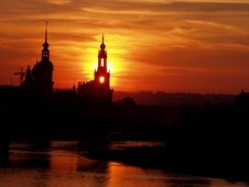 Red Shining Sundown Royalty Free Stock Photo