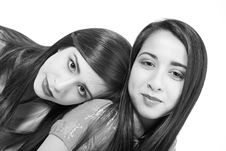 Free 2 Sisters Black And White Royalty Free Stock Photo - 2407705