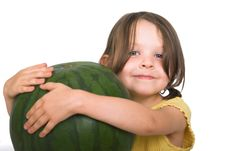 Free Girl With Watermelon Stock Images - 2409064