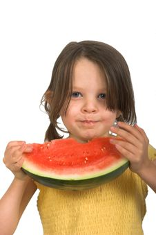 Free Little Girl With Watermelon Royalty Free Stock Photos - 2409068