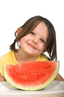 Free Little Girl With Watermelon Stock Image - 2409071