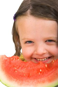 Free Little Girl With Watermelon Stock Images - 2409074