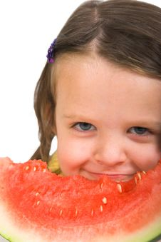 Free Little Girl With Watermelon Royalty Free Stock Photo - 2409075