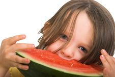 Free Little Girl With Watermelon Royalty Free Stock Photography - 2409077