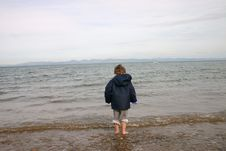 Boy On Llanbedrog Beach Royalty Free Stock Photo